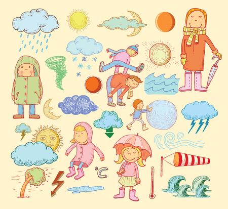 rainy season: pet weather elements, illustration.