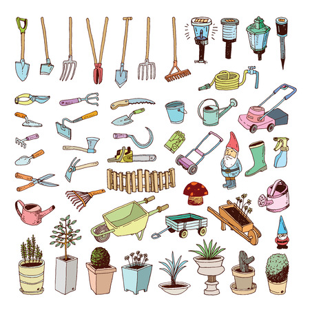 gardening hoses: Gardening Tools, illustration. Illustration