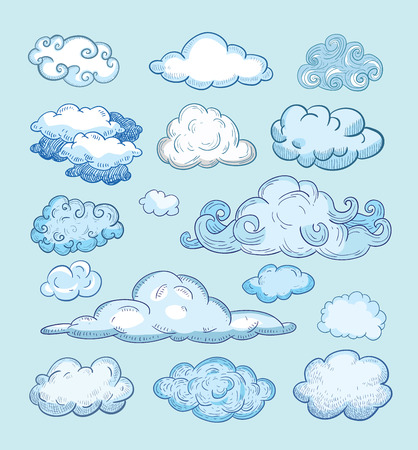 cute doodle: Doodle Collection of Hand Drawn Clouds Illustration