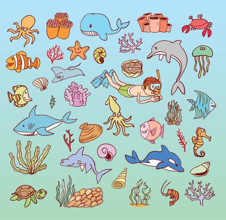 diver: sea life cartoon doodle, illustration.