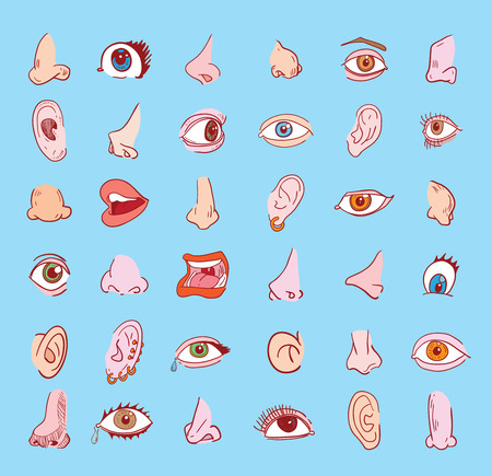 oreja: ojo oído nariz y la boca de recogida en diferentes expresiones. icónico.
