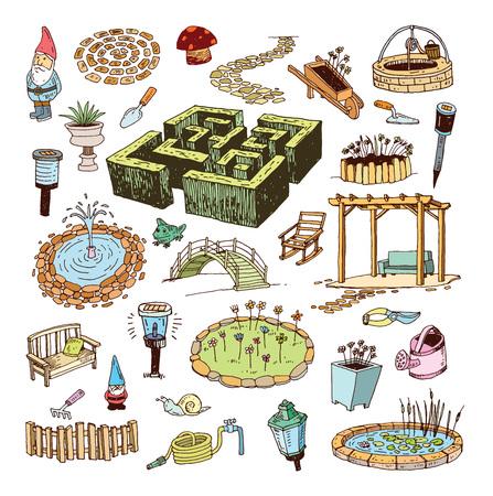 garden path: gardening element decorations, illustration. Illustration