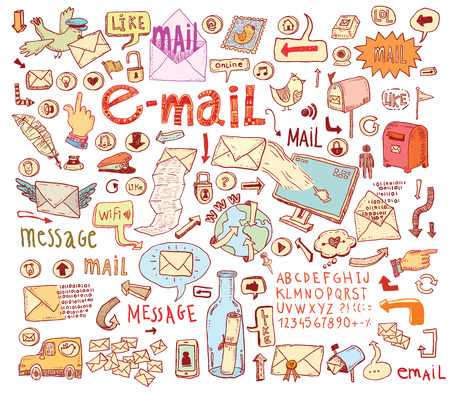 mail: E-mail doodle set. Hand-drawn illustration. Illustration