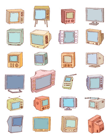 televisions: Set Televisions, vintage, illustration