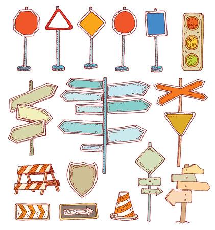 freeway: Hand drawn road signs. illustration.