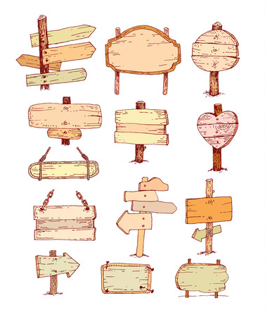 Wooden signs set .  Illustration