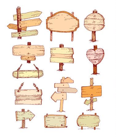 Wooden signs set .  Ilustrace