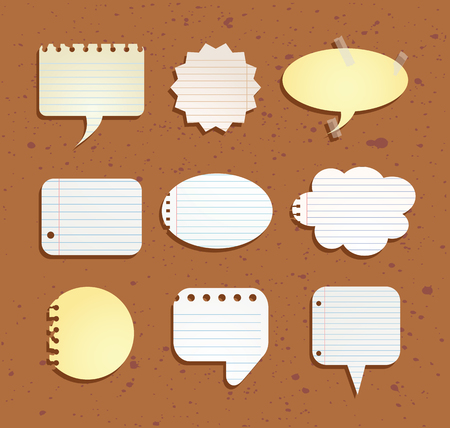 paper notes: set of paper notes speech bubbles.