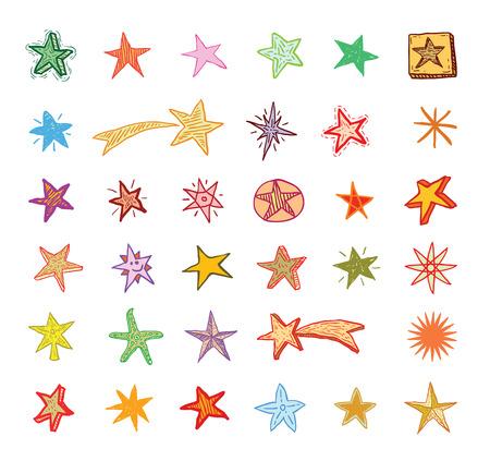 estrella caricatura: Estrella Doodles, dibujado a mano. Vectores