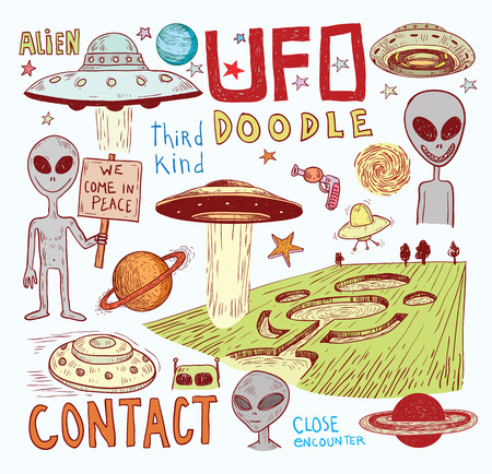 kidnapping: Set of alien and ufo icon, hand drawn illustration.