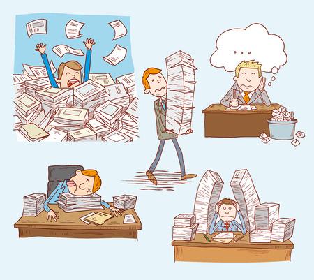 Stressful Businessman man in office, illustration.