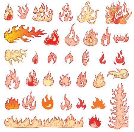 fuoco e fiamme: Fire flames, set icons, illustration