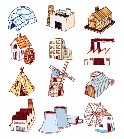 water mill: factory icons set.