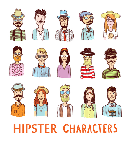 male teenager: Hipster people icon set. Illustration
