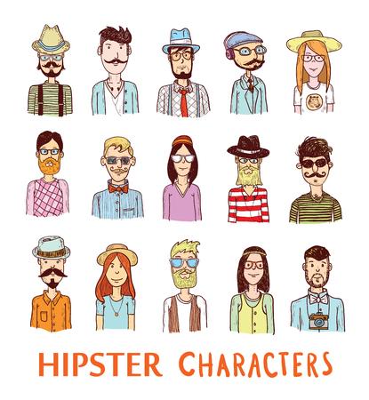 Hipster people icon set. Illustration