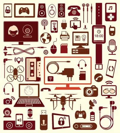 lcd monitor printer: set of  devices icons and communication.