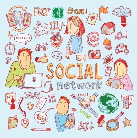 mail: social media doodle set. Hand-drawn illustration. Illustration