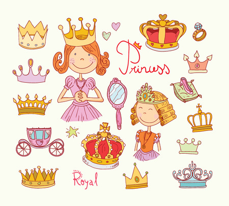 princesa: Conjunto corona de la princesa, dibujado a mano.
