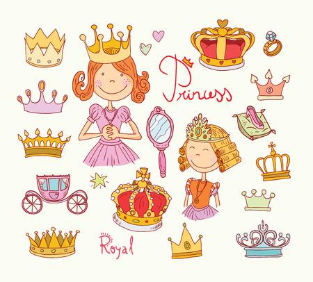Princess crown set, hand drawn.