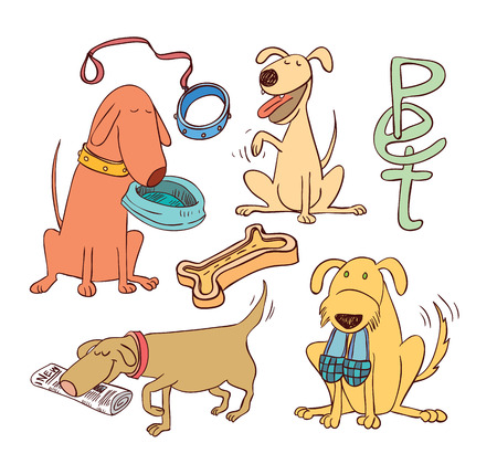 cartoon dog set, illustration.