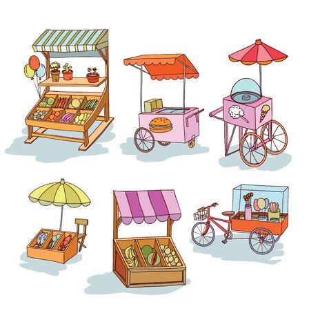 umbrella cartoon: set of stall shop and cart, illustration