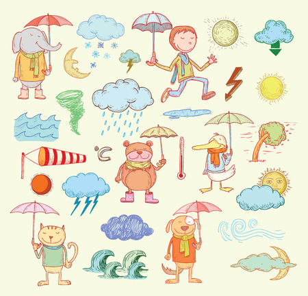 meteo: pet elementi meteorologici, illustrazione.