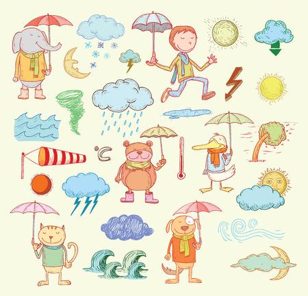 pet weather elements, illustration.