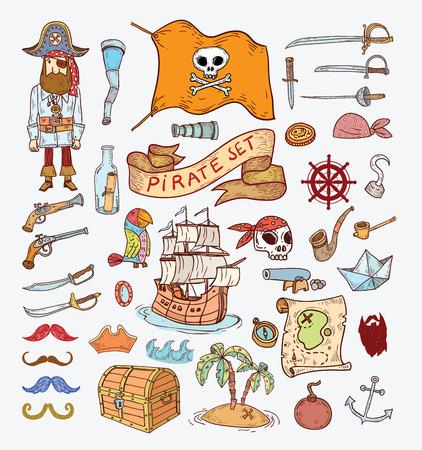 drapeau pirate: �l�ments pirates griffonnage, illustration. Illustration