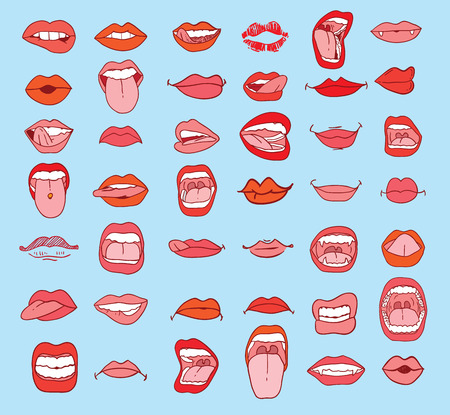 bouche homme: la collecte des bouches dans des expressions différentes. Illustration