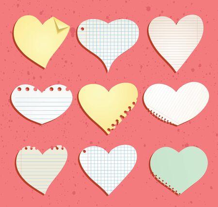 paper heart: heart paper note, illustration.