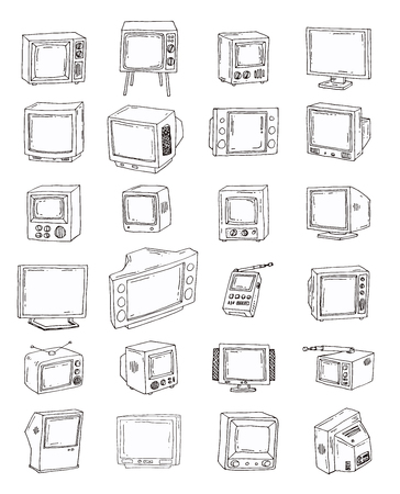 Set Televisions, vintage, vector illustration