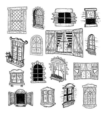 inside house: Window set doodle. Vector illustration.