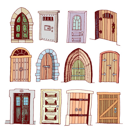 Set of old Door icon, illustration vector.  イラスト・ベクター素材