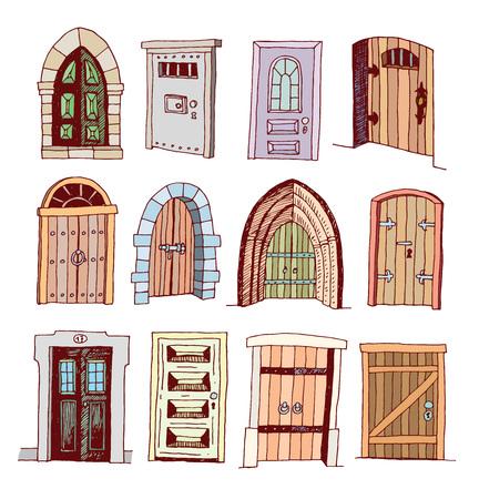 door knob: Set of old Door icon, illustration vector. Illustration