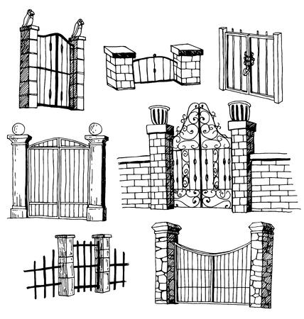 rejas de hierro: puerta de conjunto de iconos, ilustración vectorial