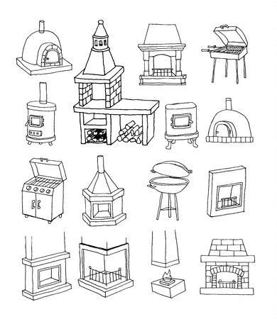 gas fireplace: fireplace doodle set, vector illustration