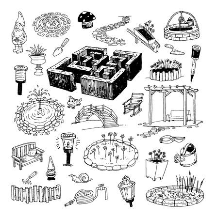 gardening element decorations, illustration vector.
