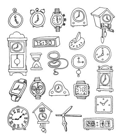 of clocks and watches, Hand drawn vector illustration 矢量图像