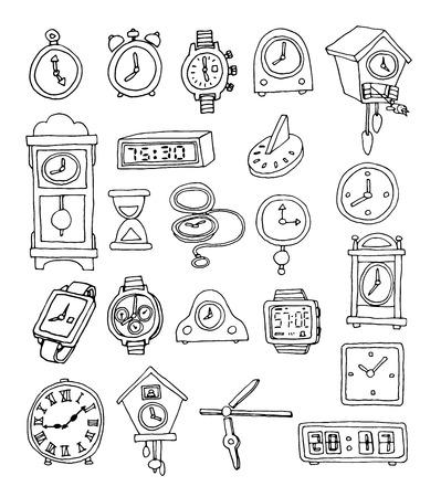cuckoo clock: of clocks and watches, Hand drawn vector illustration Illustration