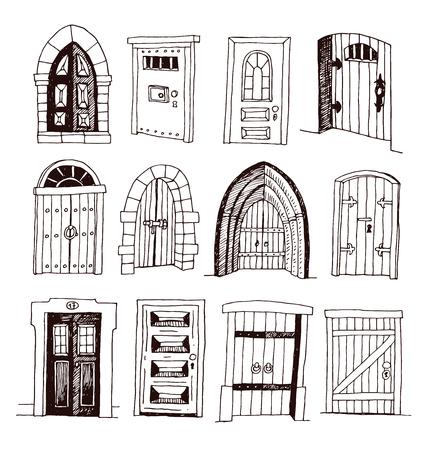 Set of old Door icon, illustration vector.  イラスト・ベクター素材