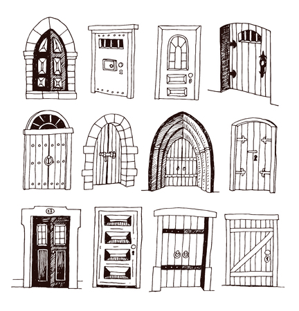 Set of old Door icon, illustration vector. Çizim