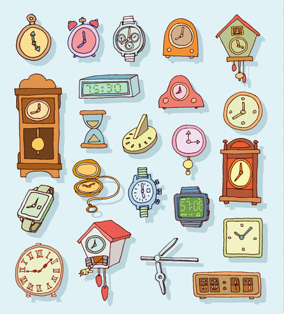 cartoon clock: Set of clocks and watches, Hand drawn vector illustration.