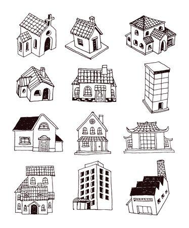 House set doodle, vector illustration. 일러스트