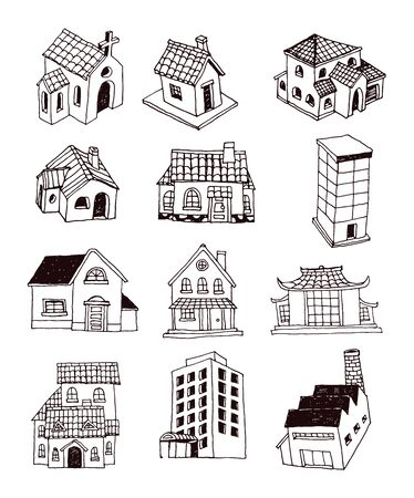 manor house: House set doodle, vector illustration. Illustration