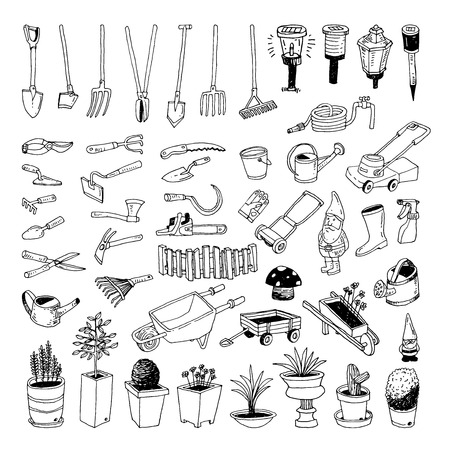 Gardening Tools, illustration vector. Çizim