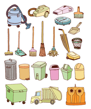 trash icons set, vector illustration