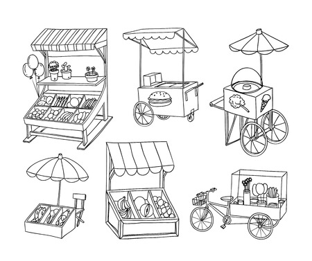 raw food: set of stall shop and cart, vector illustration