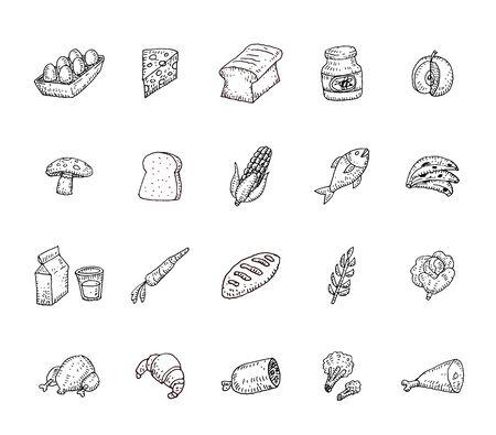 banana bread: Food icons set, vector illustration.
