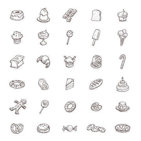Sweets icons set, vector illustration. Illustration