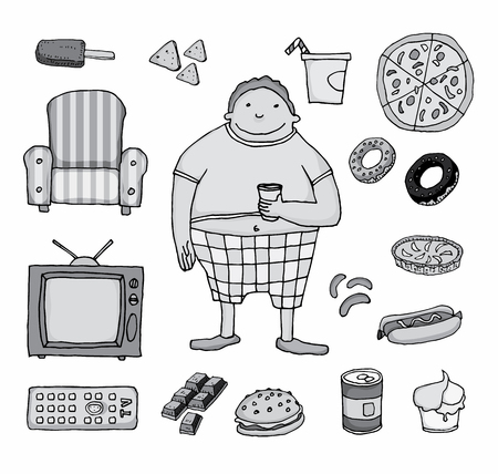 fatness: Couch potato cartoon. Vector illustration. Illustration